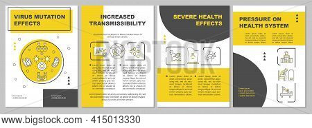Virus Mutation Effect Brochure Template. Pressure On Health System. Flyer, Booklet, Leaflet Print, C