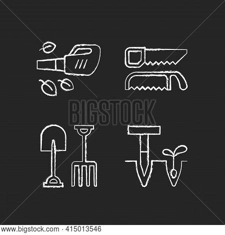 Garden Instruments Chalk White Icons Set On Black Background. Leaf Blower. Saws. Fork And Spade. Poi