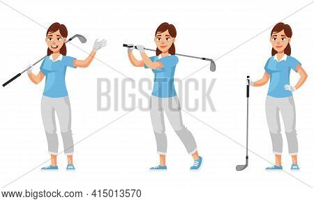 Female Golfer In Different Poses. Sportswoman In Cartoon Style.