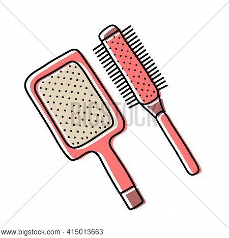 Hairdressing Equipment Line Sketch. Professional Hair Dresser Tool. Hand Drawn Doodle Icon. Vector I