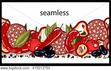 Spice Seamless Border. Assorted Spices. Kitchen Theme. Cooking. Kitchen Textiles Design. Vector Illu