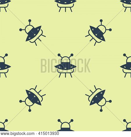 Blue Ufo Flying Spaceship Icon Isolated Seamless Pattern On Yellow Background. Flying Saucer. Alien