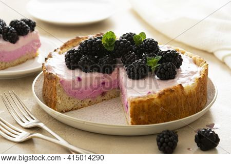 Cheesecake With Blackberries. Home Baking, Fruit Cheesecake For Breakfast