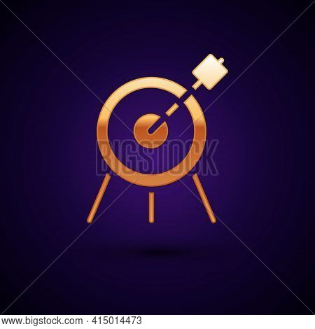 Gold Target Sport Icon Isolated On Black Background. Clean Target With Numbers For Shooting Range Or