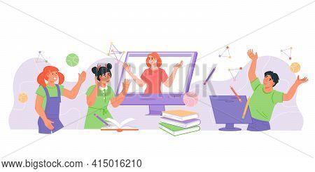 Children Online Distance Education Banner With Cute Children And Teacher Communicating Via Computer.