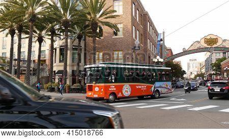 San Diego, California Usa - 30 Jan 2020: Gaslamp Quarter Historic Entrance Arch Sign On 5th Avenue.