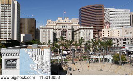 San Diego, California Usa - 13 Feb 2020: Metropolis Urban Skyline Of Downtown. From Above Aerial Vie