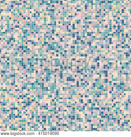 Vector Pixel Background Texture. Abstract Seamless Pattern With Small Colorful Squares, Rectangles,