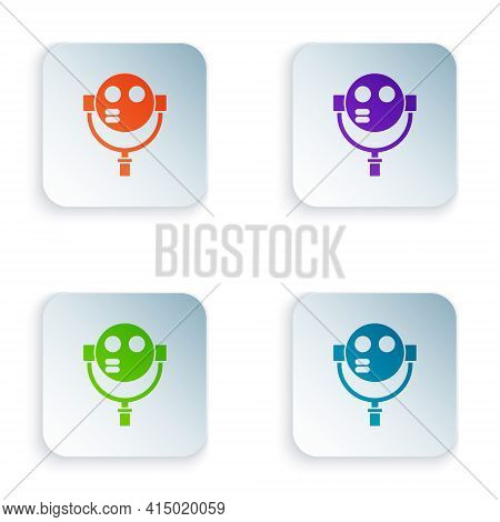 Color Tourist Binoculars Icon Isolated On White Background. Binoculars Telescope On The Observation
