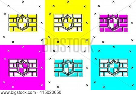 Set Shield With Cyber Security Brick Wall Icon Isolated On Color Background. Data Protection Symbol.