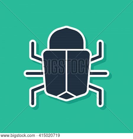 Blue System Bug Concept Icon Isolated On Green Background. Code Bug Concept. Bug In The System. Bug