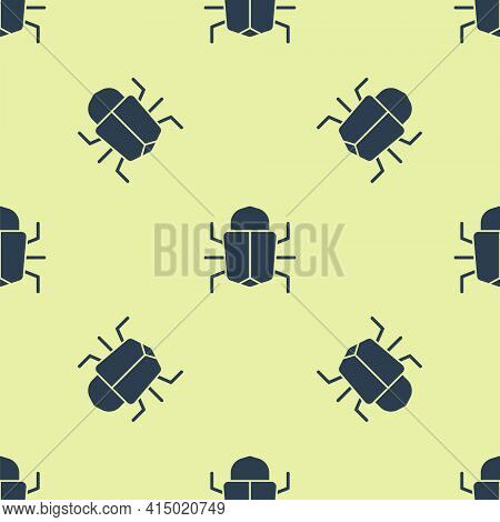 Blue System Bug Concept Icon Isolated Seamless Pattern On Yellow Background. Code Bug Concept. Bug I