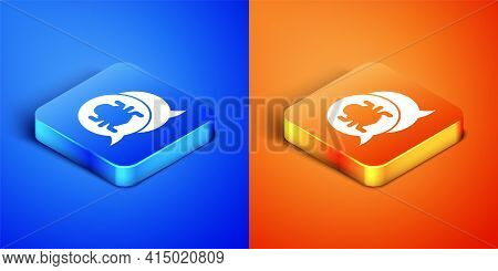 Isometric System Bug Concept Icon Isolated On Blue And Orange Background. Code Bug Concept. Bug In T