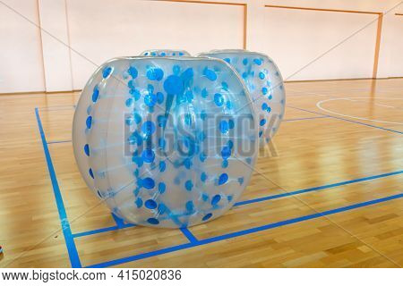 Equipment For Team Building Sport Game Named Bumper Ball Or Bubble Ball. Zorbsoccer. Blue Bumper Bol