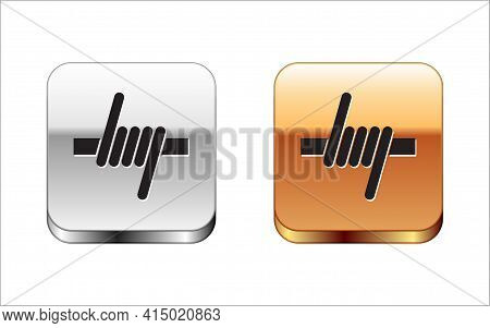 Black Barbed Wire Icon Isolated On White Background. Silver And Gold Square Buttons. Vector