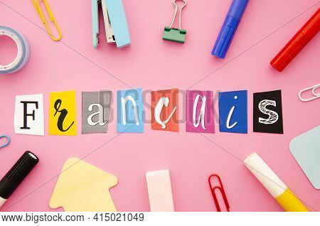 Francais Lettering Pink Background. High Quality And Resolution Beautiful Photo Concept