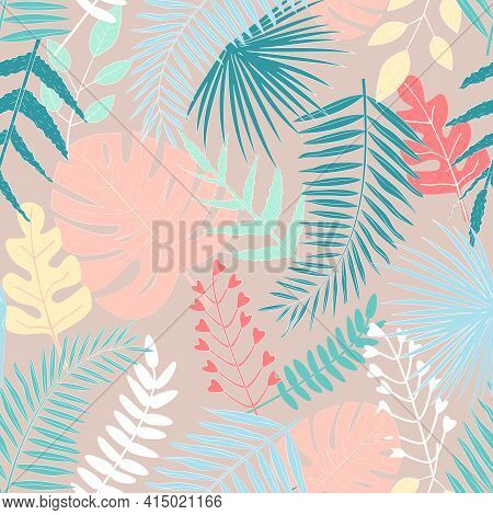 Seamless Pattern With Multicolored Tropical Leaves On Beige Background. For Decoration, Invitation,