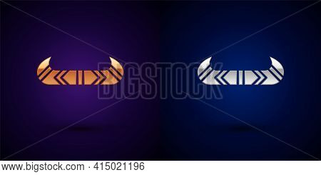 Gold And Silver Kayak And Paddle Icon Isolated On Black Background. Kayak And Canoe For Fishing And