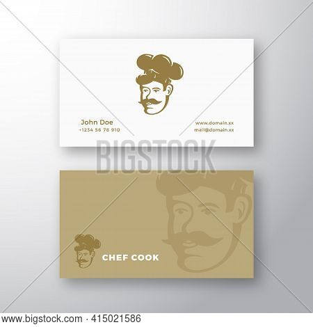 Chef Abstract Vector Logo And Business Card Template. Retro Style Emblem. Cook Face In A Hat With Mu
