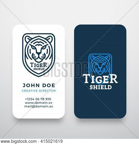 Line Style Tiger Face Shield Abstract Vector Logo And Business Card Template. Wild Animal Head Sillh