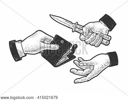 Robbery With A Knife Sketch Engraving Vector Illustration. T-shirt Apparel Print Design. Scratch Boa