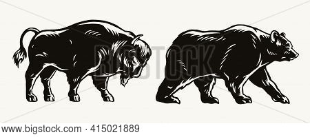 American Bison And Bear Concept In Vintage Monochrome Style Isolated Vector Illustration