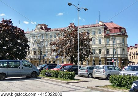 Vilnius, Lithuania - May 24, 2017: Vilnius Street View In The Historic Center Of The City.