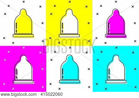 Set Condom Icon Isolated On Color Background. Safe Love Symbol. Contraceptive Method For Male. Vecto
