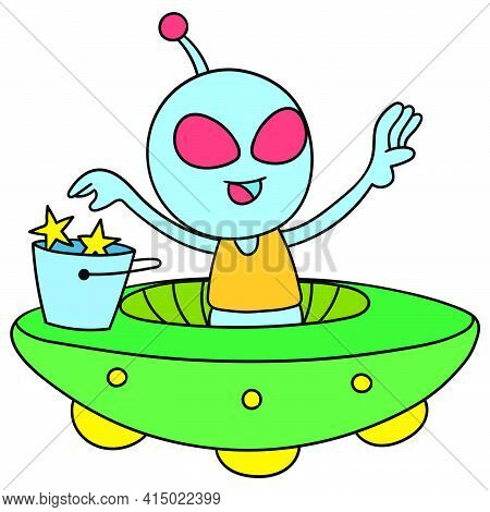 Alien Child Flying Aboard A Ufo Plane Across Space, Character Cute Doodle Draw. Vector Illustration