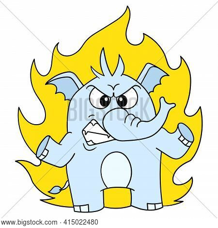 Elephant Emoticon With Fiery Angry Face, Character Cute Doodle Draw. Vector Illustration
