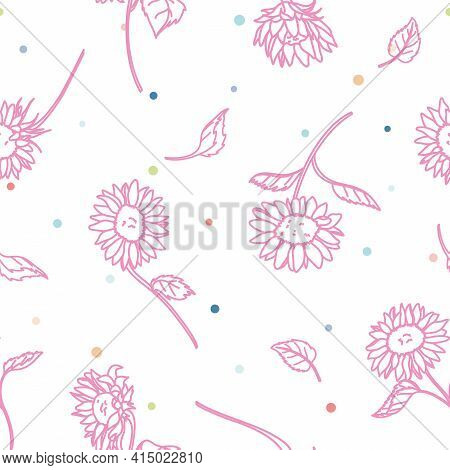 Vector Pink Sunflower Lineart With Colorful Confetti Seamless Pattern Background. Perfect For Fabric
