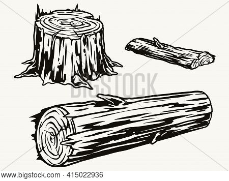Wood Logs And Stump Concept In Vintage Monochrome Style Isolated Vector Illustration