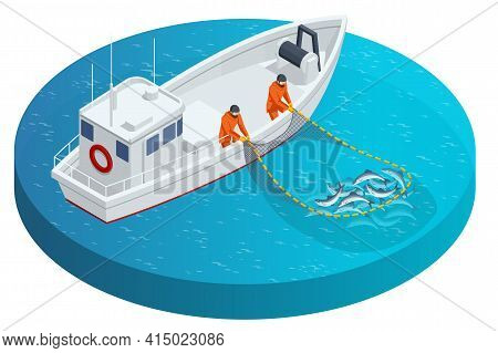 Isometric Fishing Schooner, Fishing Boat Or Ship. Fishermen Pulling Up A Net Filled With Fish. Sea F