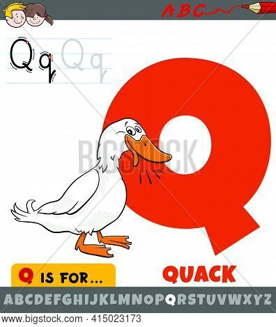 Educational Cartoon Illustration Of Letter Q From Alphabet With Quack Duck Sound