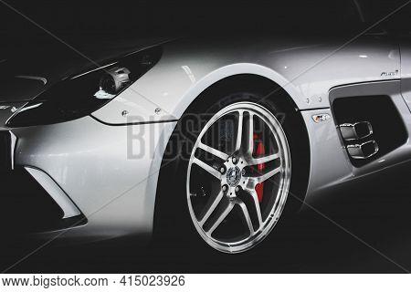 Kiev, Ukraine - August 21, 2011: Mercedes-benz Slr Mclaren Stirling Moss On A Dark Background In The