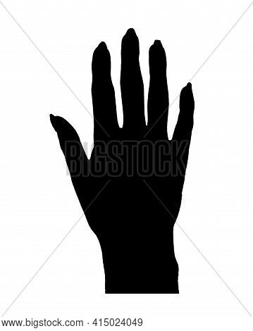 Man Hand With Large Nails Graphic Silhouette