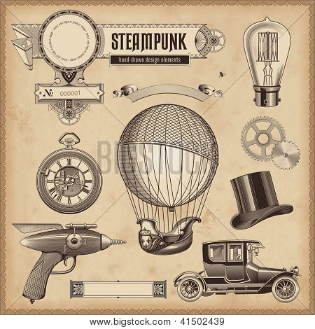 vector set: Steampunk ontwerpelementen