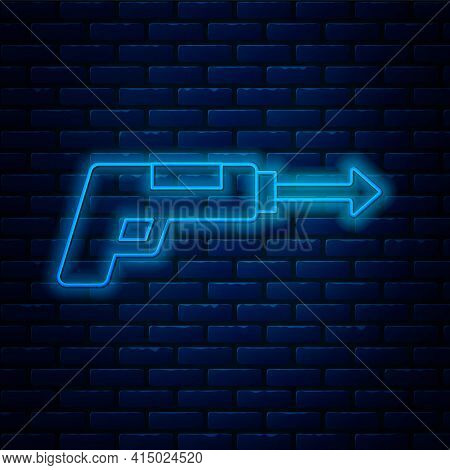 Glowing Neon Line Fishing Harpoon Icon Isolated On Brick Wall Background. Fishery Manufacturers For