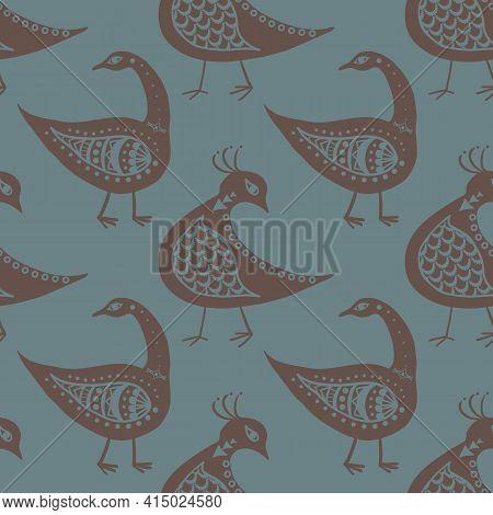 Stylized Bird Seamless Vector Pattern Background. Mix Of Folk Art And Ancient Greece Style Birds Tea