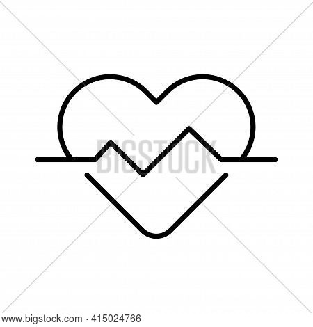 Heartbeat Heart Pulse Monochrome Icon Vector Medical Cardiology Wave Emergency Support