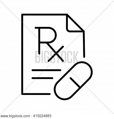 Modern Simple Icon Rx Medical Prescription Vector Paper Document With Medicament Treatment List