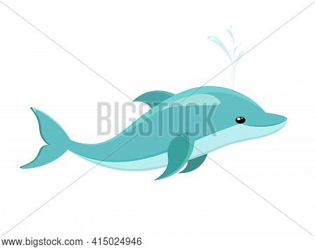 Dolphin Isolated On White Background. Cute Blue Dolphin, Dolphin Jumping