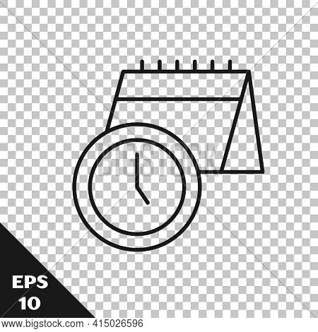 Black Line Calendar And Clock Icon Isolated On Transparent Background. Schedule, Appointment, Organi