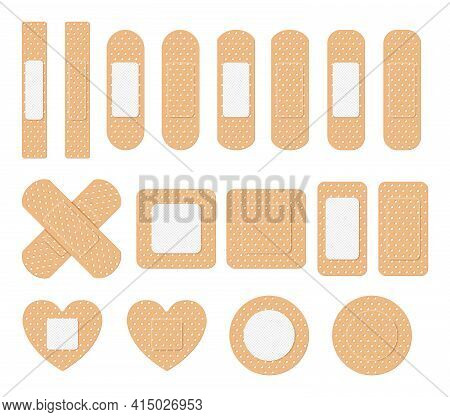 Vector Set Of Medical Plaster, Elastic Bandage Patch. Collection Of Adhesive Bandages, Plasters Or P
