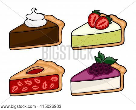 Cute Cartoon Pie Slices Set. Cherry, Bleuberry, Apple And Peach Pie Drawing. Isolated Vector Illustr