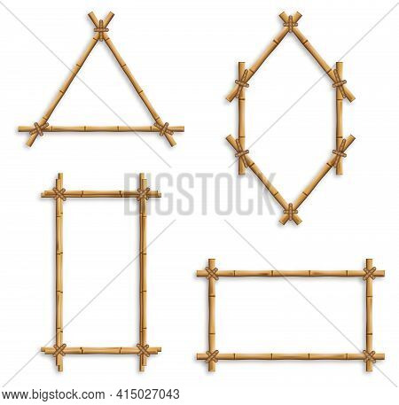 Set Of Vector Bamboo Frames. Bamboo Frames, Isolated Vector Borders Made Of Wooden Brown Bamboo Stic