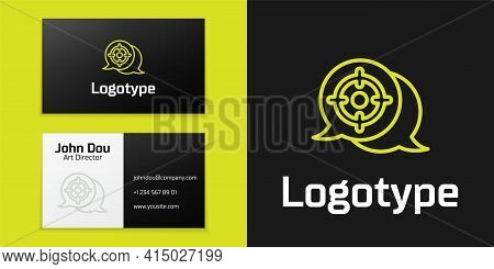 Logotype Line Target Sport Icon Isolated On Black Background. Clean Target With Numbers For Shooting