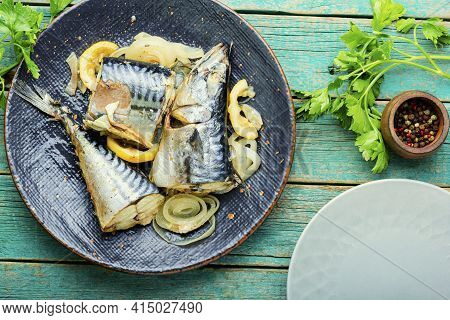 Steamed Mackerel Pieces On A Plate.diet Food.seafood