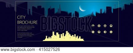 Night Wide Panorama Simple Minimalistic City Skyline Traveling Tourist Guide Book. Brochure, Flyer,