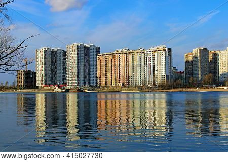 Modern Luxury Skyscrapers On Embankment Of The Dnieper River In Kyiv. Concept Of Modern Architecture